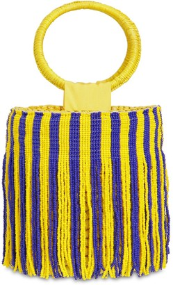 Sensi Mini Striped Bucket Bag W/ Beaded Fringe