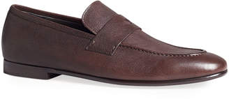 Dunhill Men's Engine Turn Buffalo Leather Penny Loafers