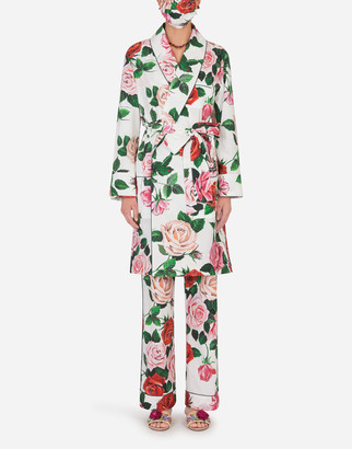 Dolce & Gabbana Rose-Print Robe With Matching Face Mask