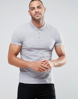 Asos Muscle Pique Polo Shirt In Gray