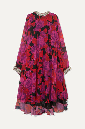 Richard Quinn Cape-effect Crystal-embellished Floral-print Chiffon Gown - Pink