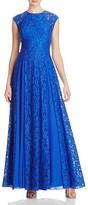 Aqua Cap Sleeve Lace Godet Gown
