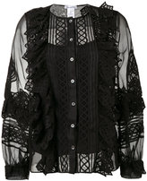 Oscar de la Renta sheer sleeves blouse - women - Silk/Cotton/Spandex/Elastane - 2