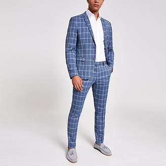 River Island Blue check skinny suit jacket