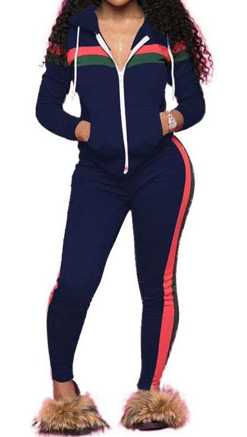 2cd331a359 TOP-MAX Women's Sweatsuits, Stripe Jogging Zipped Hoodie - Fashion Sport  Suit, Hoodie and Pants Sports Tracksuits