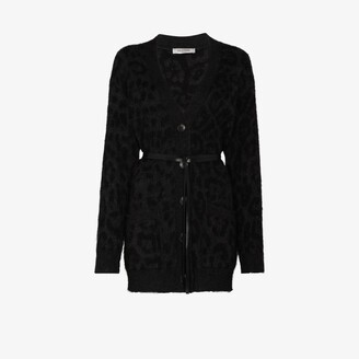 Valentino Belted Leopard Knit Cardigan