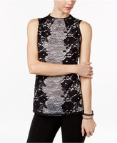 INC International Concepts Petite High-Neck Lace Top, Only at Macy's
