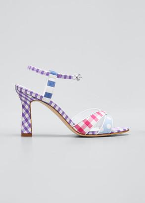 Manolo Blahnik Fluida Mixed Pattern Ankle-Strap Sandals