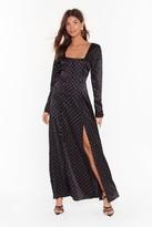Nasty Gal Womens Hit the Satin Spot Slit Maxi Dress - black - 4