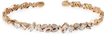 Suzanne Kalan Tilted Baguette Diamond Bangle in 18K Rose Gold