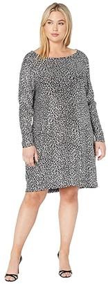 MICHAEL Michael Kors Size Catty Foil Cowl Back Dress (Black/Silver) Women's Clothing