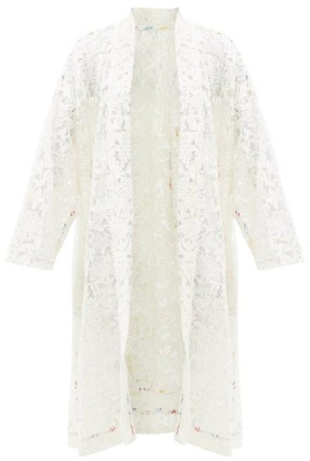 RIANNA + NINA Kendima Cotton Floral-lace Evening Coat - White