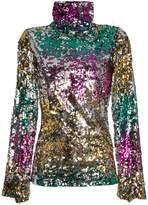 Halpern Sequin embellished high neck top