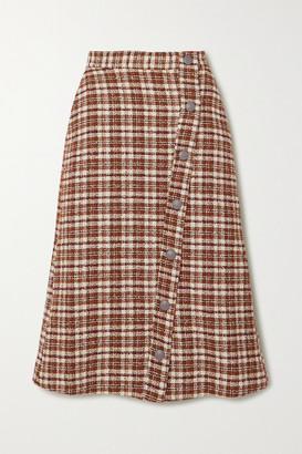 REMAIN Birger Christensen Marina Leather-trimmed Checked Cotton-blend Tweed Midi Skirt - Brown
