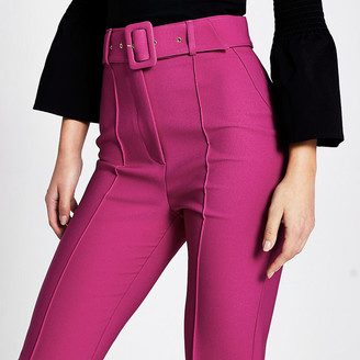 River Island Dark pink belted peg trousers