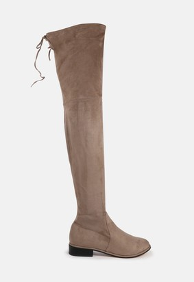 Missguided Mocha Faux Suede Over The Knee Flat Boots