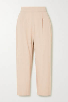 LA COLLECTION Luela Cropped Linen-blend Tapered Pants - Beige