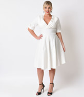Unique Vintage Plus Size 1950s Ivory Delores Sleeved Swing Dress