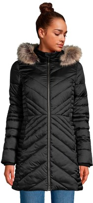 Lands' End Petite Faux-Fur Hood Insulated Plush-Lined Winter Coat