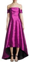 Sachin + Babi Strapless Jacquard Ball Gown, Pink Topaz