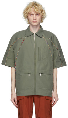 paria /FARZANEH Khaki Zippered Short Sleeve Shirt