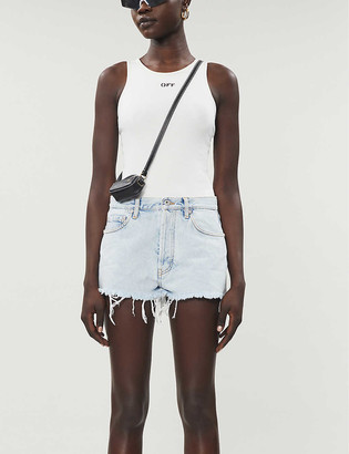 Off-White Faded slim-fit mid-rise denim shorts