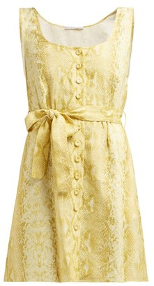 Emilia Wickstead Snakeskin-print Linen Dress - Womens - Yellow