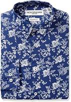 Nick Graham Men's Floral Poly Print Dress Shirt