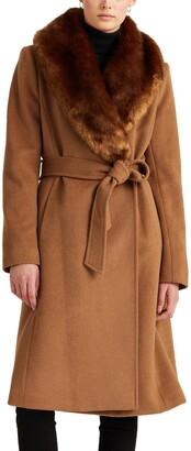 Lauren Ralph Lauren Wool Blend Belted Wrap Coat with Faux Fur Collar