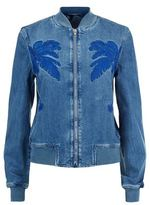 Stella McCartney Palm Tree Embroidered Denim Bomber Jacket
