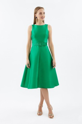 Coast Belted Twill Full Skirted Dress