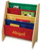 """Kid Kraft Personalized """"Mia"""" Girl's Sling Bookcase with Primary/Yellow Lettering"""