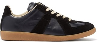 Maison Margiela Replica Suede-panel Leather Trainers - Black Navy