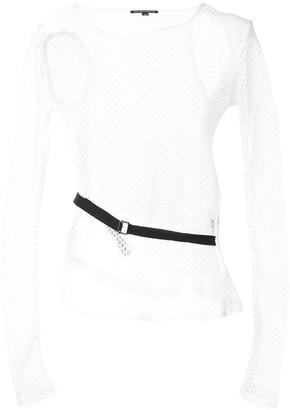 Ann Demeulemeester Belted-Waist Long Sleeved Mesh Top