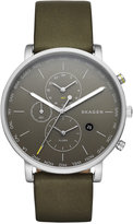 Skagen Men's Hagen World Time Green Leather Strap Watch 42mm SKW6298