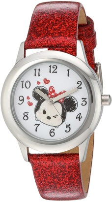 Disney Girls Tsum Stainless Steel Analog-Quartz Watch with Leather-Synthetic Strap