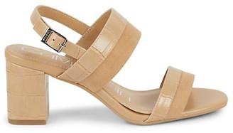 Calvin Klein Carmi Faux Suede Croc-Embossed Slingback Heels