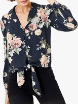 Oasis Floral Tie Front Shirt, Blue/Multi