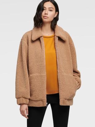 DKNY Faux Fur Teddy Bear Coat