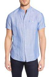 Stone Rose Regular Fit Banded Linen Blend Shirt