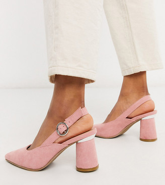 Simply Be wide fit sling back court shoe in pink