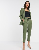 Stradivarius slouchy tailored pants with faux leather belt in khaki
