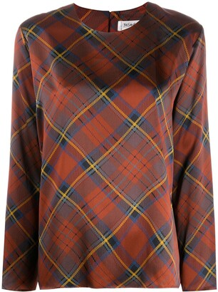 Yves Saint Laurent Pre Owned 1980s Diagonal Check Blouse