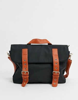 My Accessories London satchel bag in black nylon with constrast strap