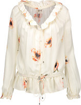 Haute Hippie Ruffled printed silk-crepe blouse