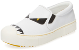 Fendi Monster Leather Slip-On Sneaker