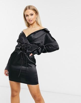I SAW IT FIRST satin off shoulder lace up dress in black
