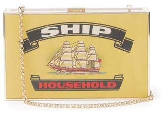 Anya Hindmarch Imperial Ships Matchbox-print Leather Clutch - Womens - White Multi