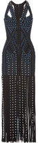 Herve Leger Eyelet-embellished Fringed Bandage Maxi Dress - Black