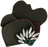 Marni strass leather brooch